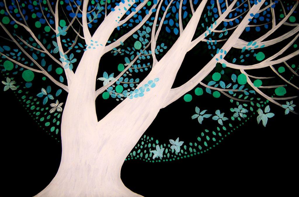 pintura árbol noche acrílico