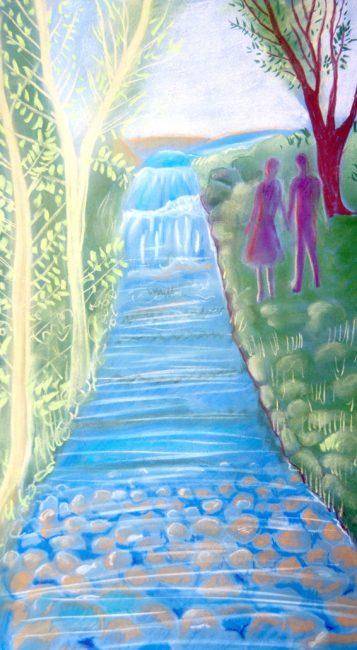 pintura río paseo pareja amor