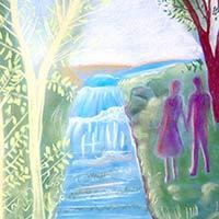 pintura pasear rio