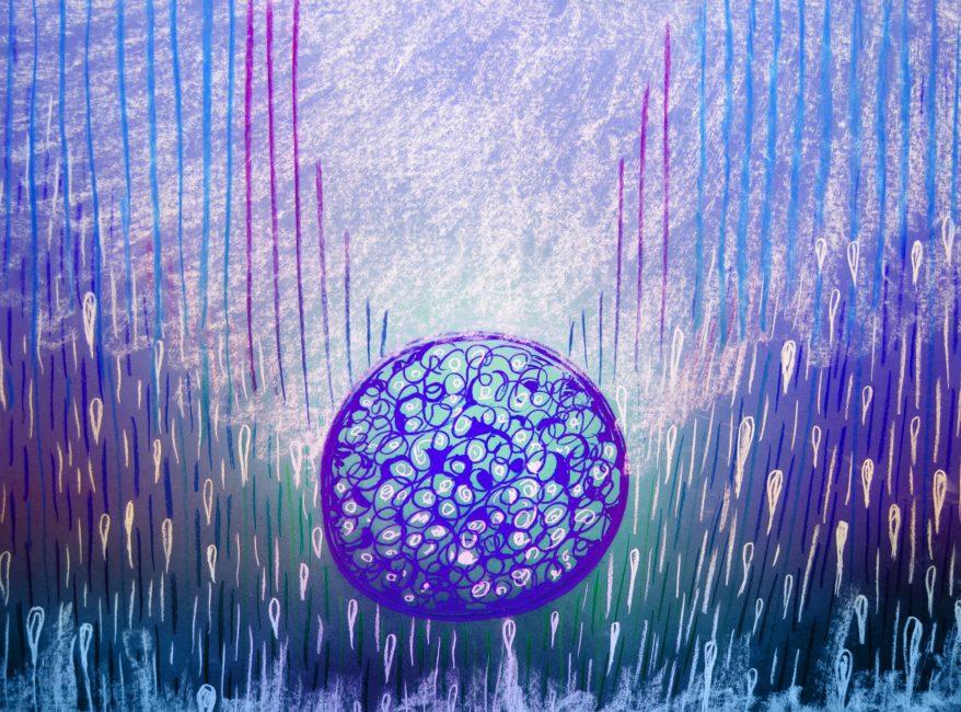 La creación de la vida en colores azules eléctricos