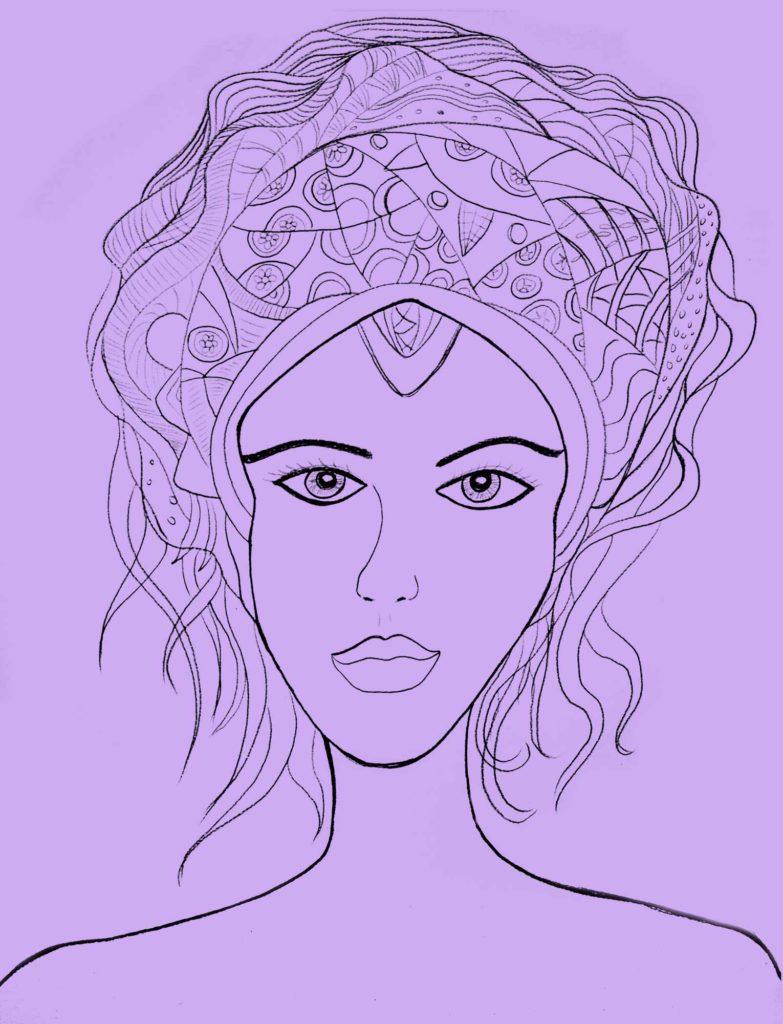 dibujo violeta mujer venus