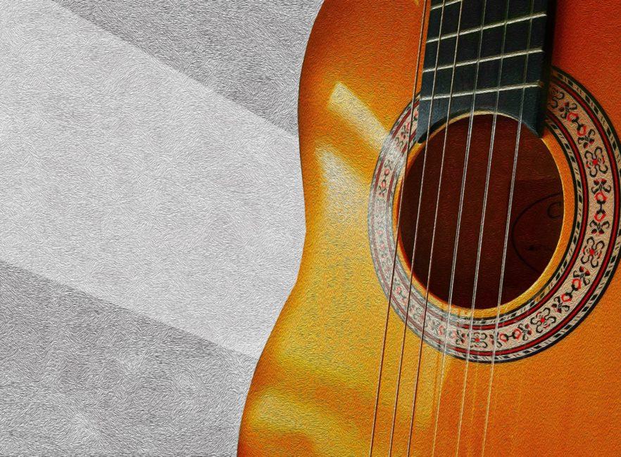 guitarra pintura óleo