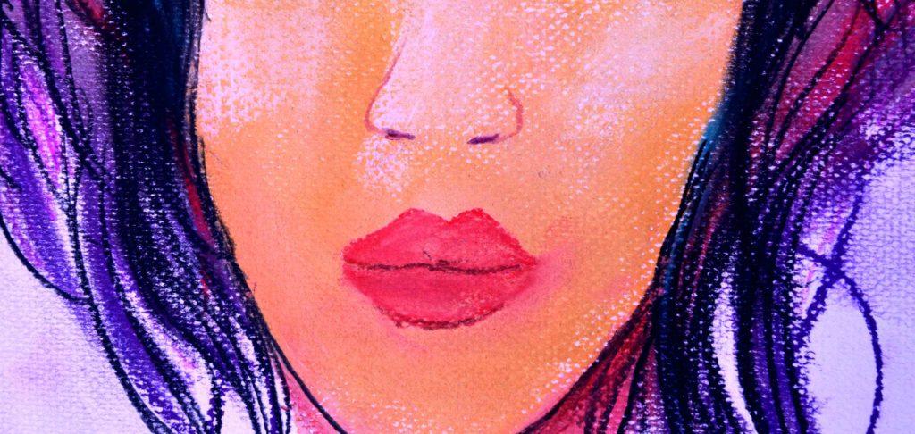 boca de mujer pintura pastel