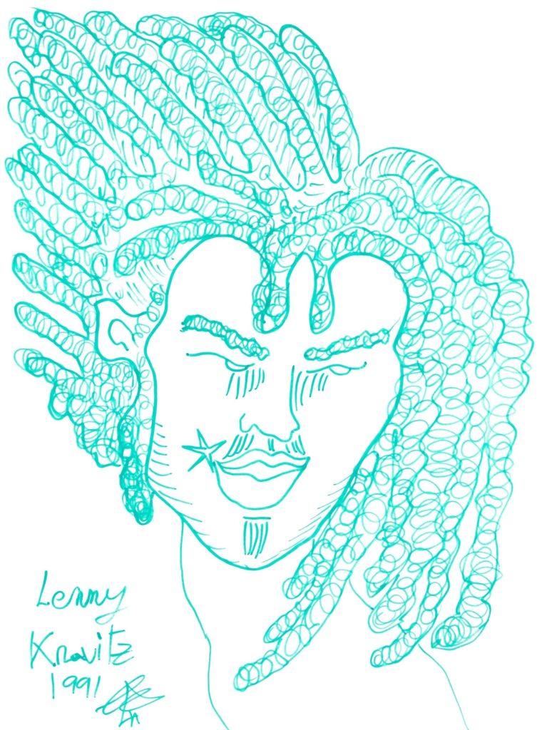 lustración retrato de Lenny Kravitz
